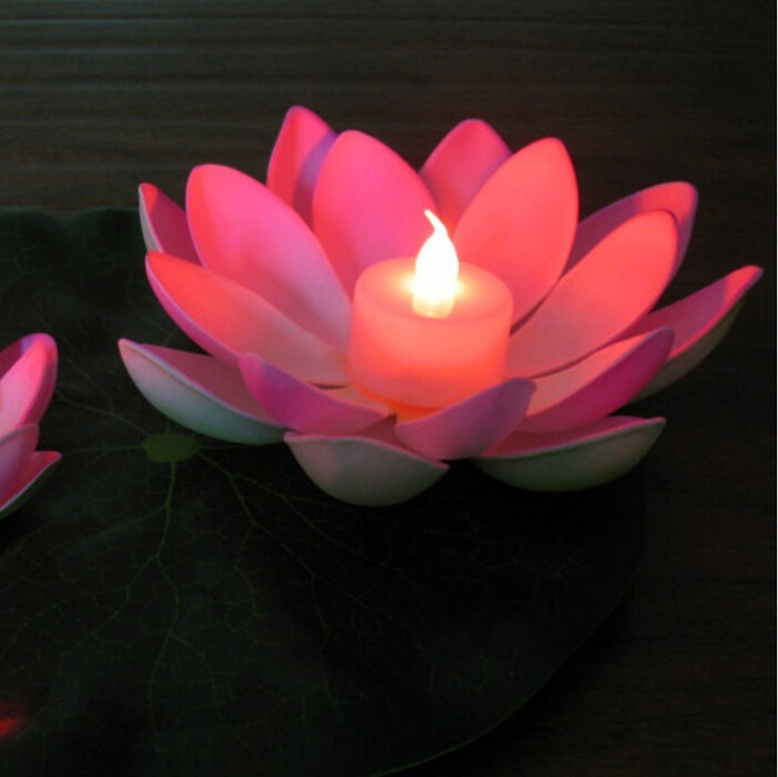 Flowers And Floating Candle Centerpieces With Led Lighting: Artificial LED Candle Floating Lotus Flower With Colorful