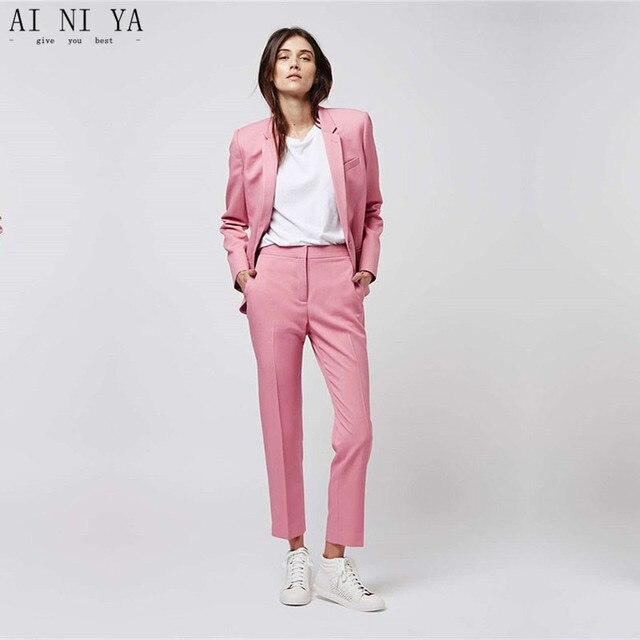 Chaqueta + Pantalones Rosa mujeres negocios Trajes Oficina formal Trajes  trabajo pantalón femenino Delgado traje único 25dd974903fe