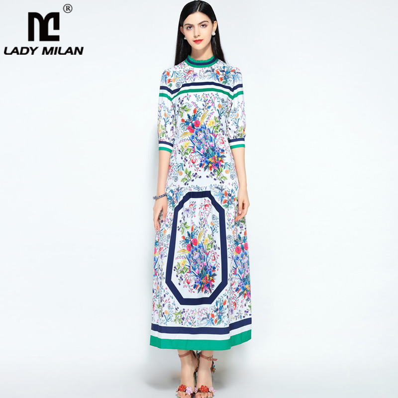 New Arrival Womens O Neck 3/4 Ruffles Floral Printed Striped High Street Fashion Designer Long Runway Dresses