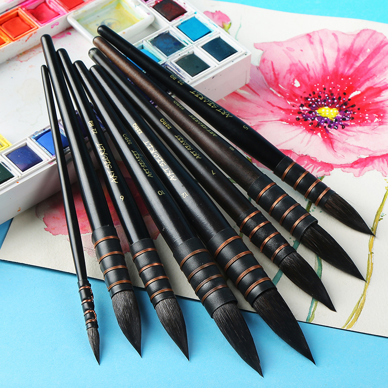 Купить с кэшбэком 1Piece Handmade Squirrel's Hair Artist Watercolor Paint Brush French Style Pointed Painting Brushes For Watercolor Art Supplies