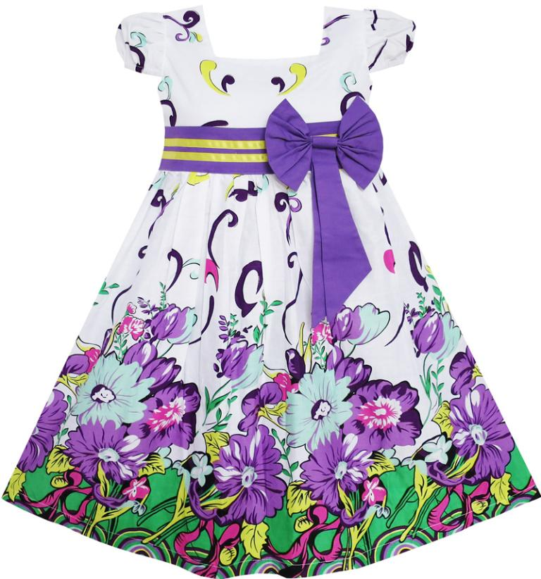 Flower Girl Dress Bow Tie Purple Floral Sleeve Princess Boutique Party Kids Cotton 2018 Summer Wedding