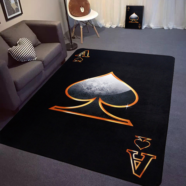 Black Poker Design Living Room Bedroom Carpet Red Peach A Spades A