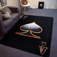 Black Poker Design Living Room Bedroom Carpet Red peach A Spades A Fashion ideas Rug Non Slip Home Decorator Floor Rug