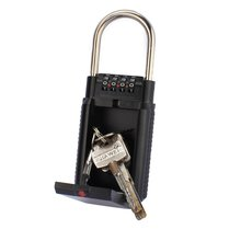 Key Lock Box Outdoor Safe Big Capacity Key Storage Organizer With 4 Digit Password Keys Hook Padlock-Door Handle for Outdoor Use