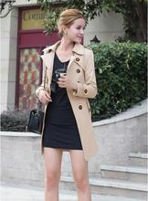 2016 Direct Selling Double Breasted Full Long Solid Abrigos Mujer Coats Europe New Winter Outerwear Fashion Slim Size Coat