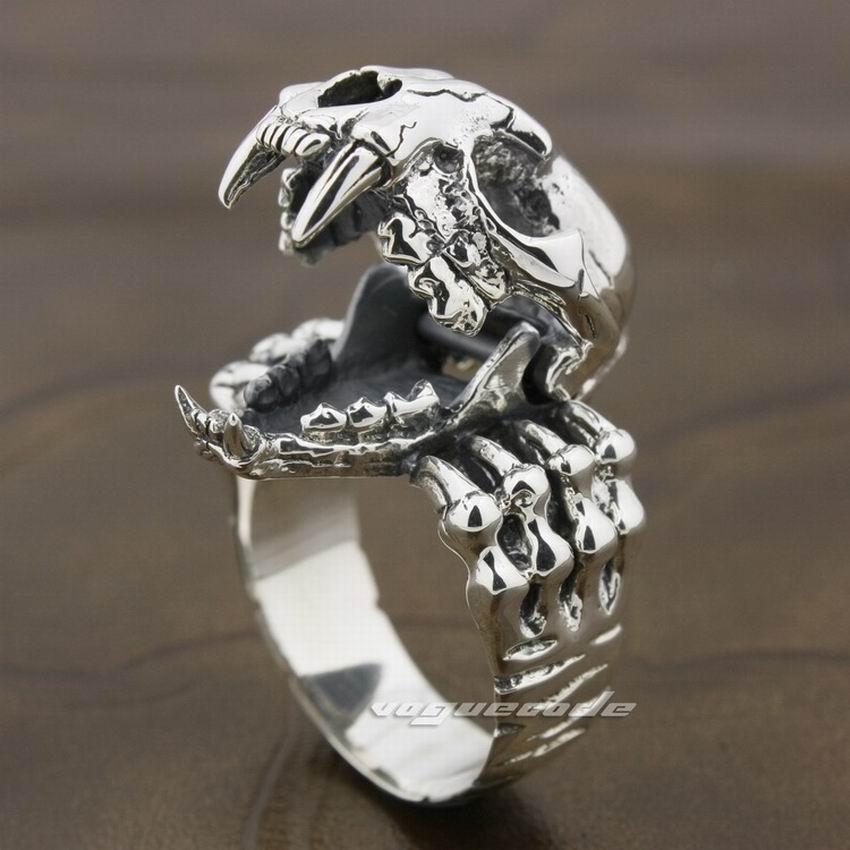 925 Sterling Silver Tiger Skull Openable Tusk Fang Mens Biker Ring 8D003 US Size 9.5925 Sterling Silver Tiger Skull Openable Tusk Fang Mens Biker Ring 8D003 US Size 9.5