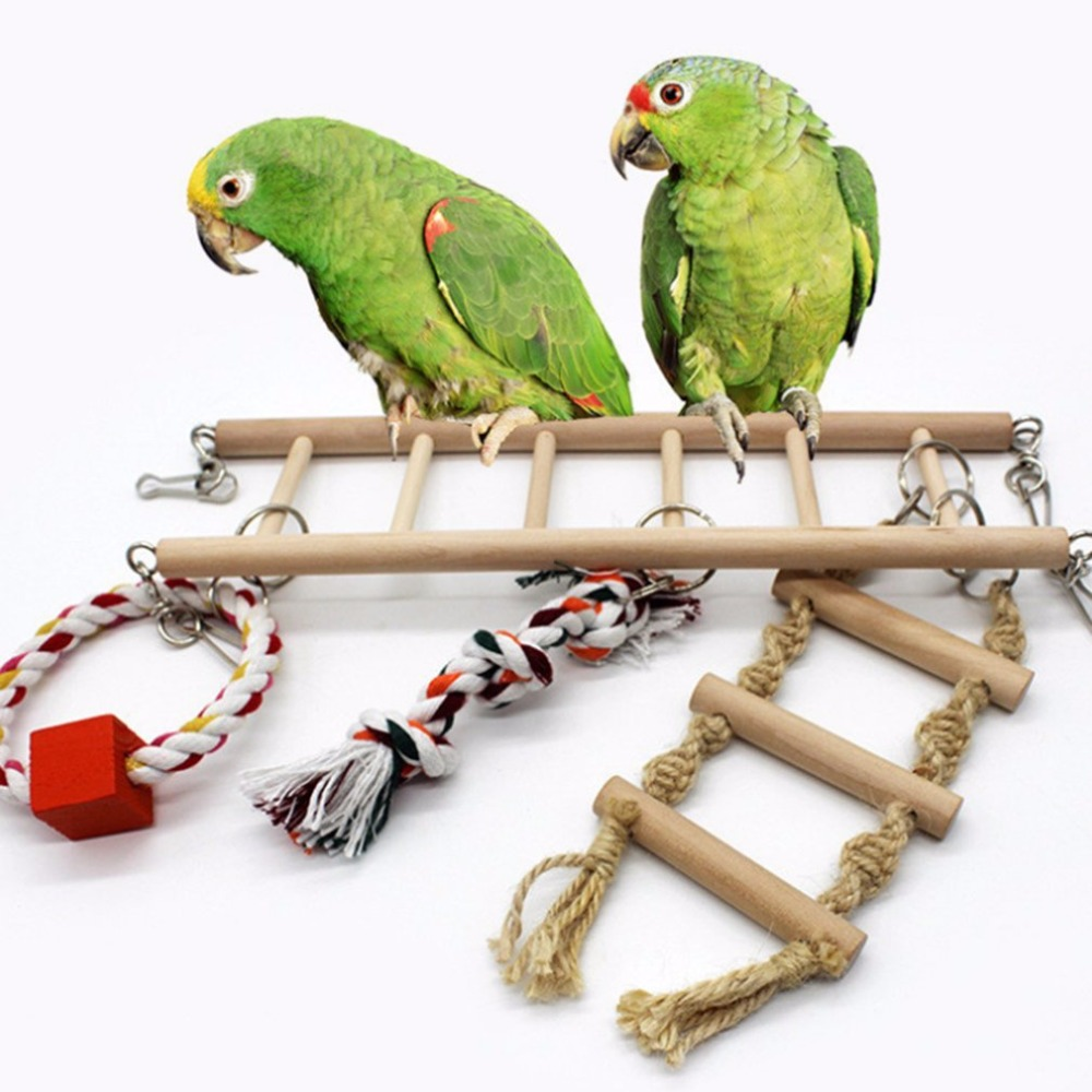 Pet Supplies Birds Toy Wooden Ladders Swing Scratcher Perch Climbing Ladder With Rope Bird Cage Hamsters Parrot Toys