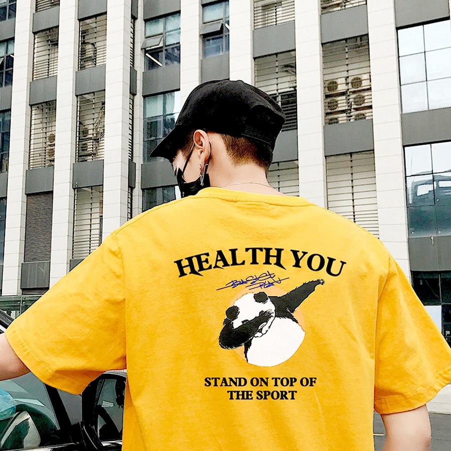 2019 White Cotton Tshirt Men Animal Summer Harajuku Panda Clothes Funny T Shirt Men Streetwear Anime Shirt Korean Men Streetwear