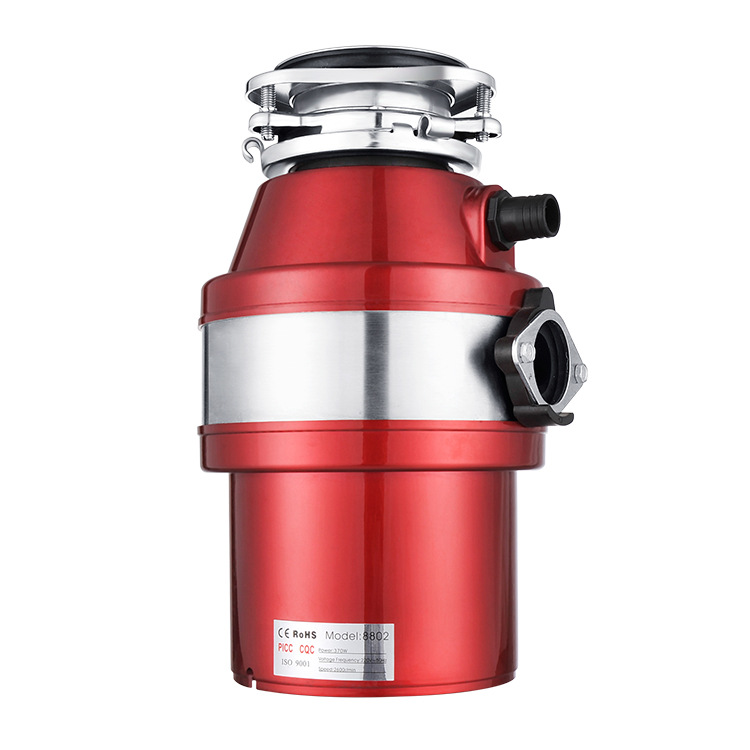 Kitchen Waste Disposal Pre-rinse Faucet Household Food Disposer Garbage Crusher 900ml 370w Low Noise High Sensitive Protection System Red