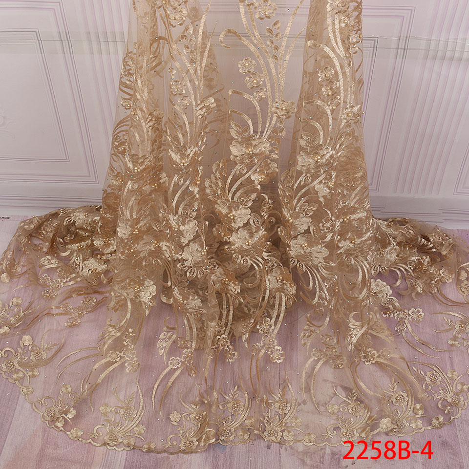 Image 5 - African Nigerian Lace Fabric 2019 High Quality Embroidered Tulle  Lace Fabric With Beads Stones Guipure Lace Trim Dress QF2258B 1Lace