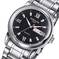 Fedylon Top Brand Luxury Business Watches Men Stainless Steel Classic Week Calender Quartz Watch Relogio Masculino