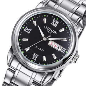Fedylon Top Luxury Brand Business Mens Watches Stainless Steel Classic Date Calender Waterproof Quartz Wristwatch Montre Homme