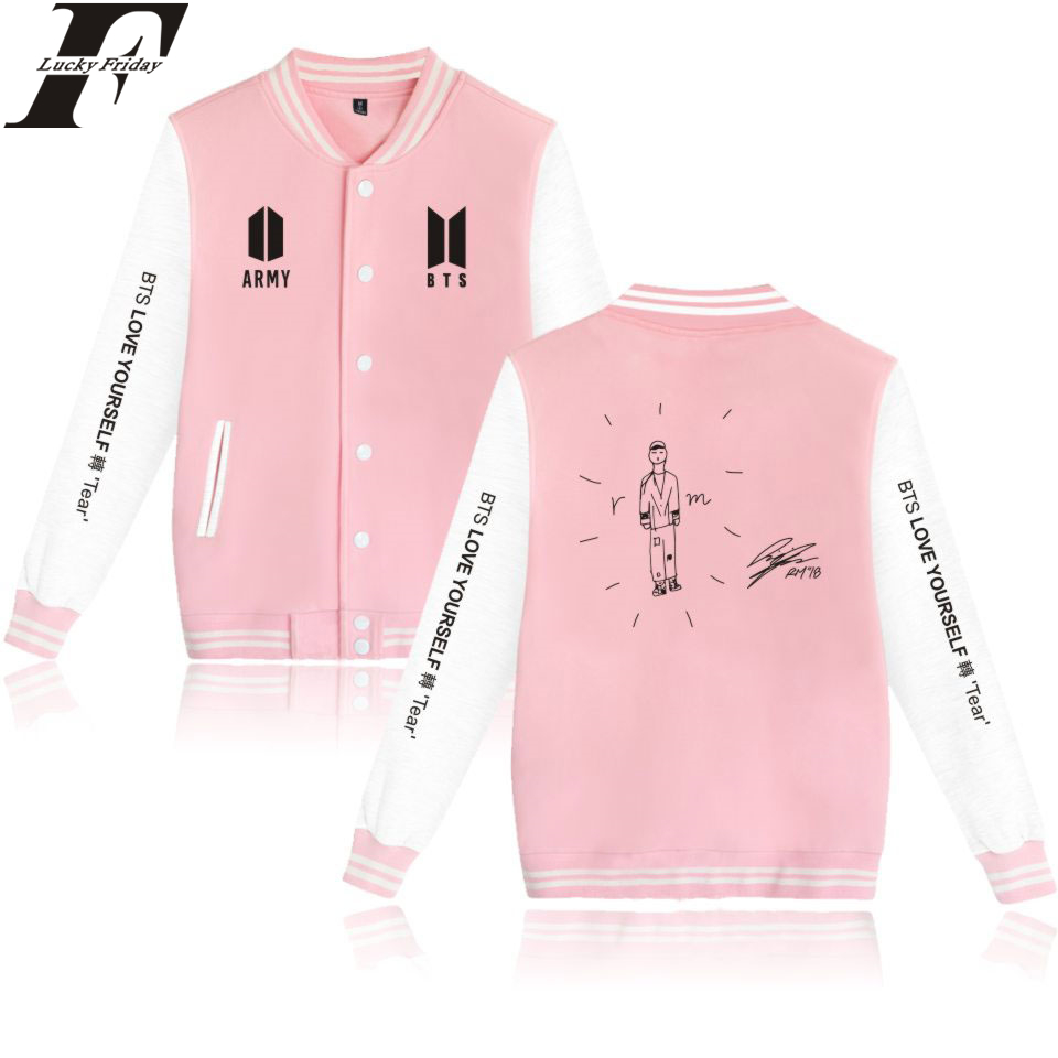 LUCKYFRIDAYF Self-portrait Baseball Jackets BTS Love Yourself Women/Men Sweatshirts Print Capless Casual Collage Style 4XL A7101