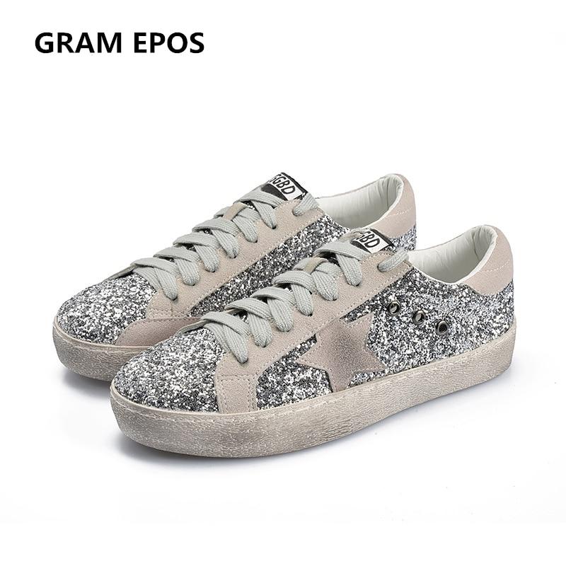 GRAMM EPOS 2018 Frauen Casual Schuhe Glitter Leder Tun Alte Schmutzige Schuhe Mixed Farbe Frauen Pailletten Star Goldene Vliese trainer