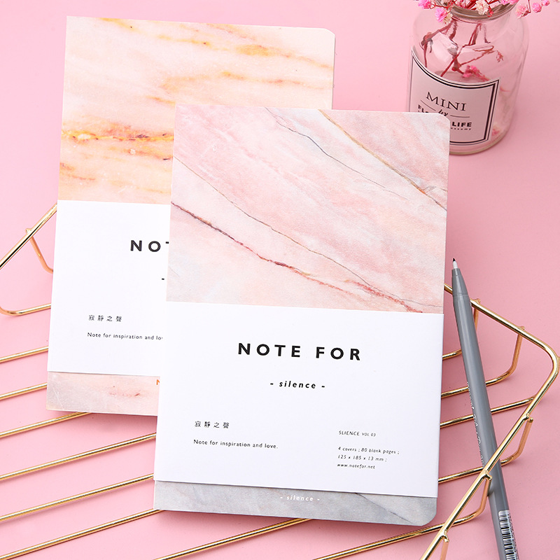 Cute Notebook 80 Sheet A5 Empty Pages Marble Designs Notepad Sketchbook Journal DIY Personal Diary Note Book Sketch Stationery
