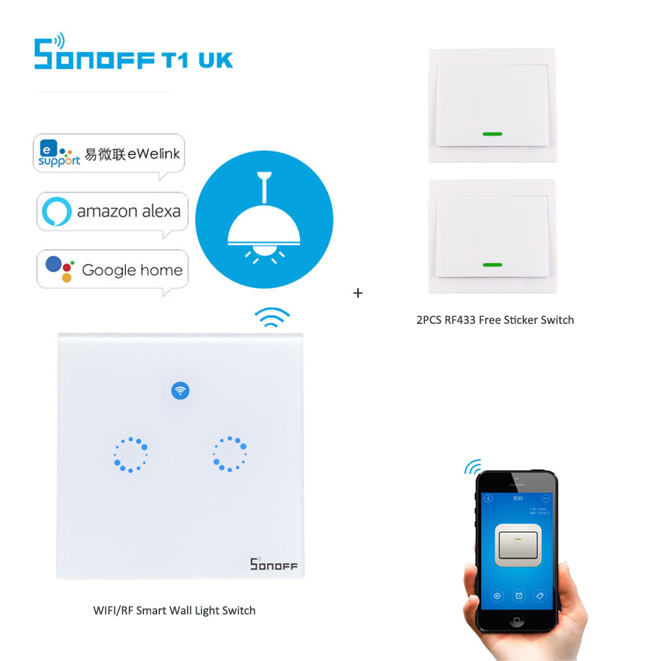 Sonoff T1 2Gang 2way WiFi Wireless RF/APP/Touch Control Wall Light Timing Switch UK Type Smart Home Automation for Alexa/Nest sonoff t1 us smart touch wall switch 1 2 3 gang wifi 315 rf app remote smart home works with amazon free ios and app ewelink