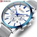 CURREN новые мужские часы модные синие стальные сетчатые кварцевые наручные часы повседневные многофункциональные часы с хронографом 24 часа ...