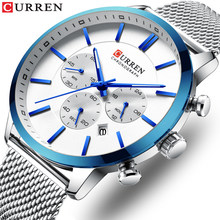 CURREN Pria Baru Fashion Blue Steel Mesh Kuarsa Jam Tangan Kasual Multi-Fungsi Chronograph 24 Jam Tanggal Clock(China)