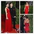 Vestidos De fiesta elegante Vestido De Festa 2016 rojo largo correas espaguetis noche De baile Vestidos De la celebridad Selena Gomez Vestidos