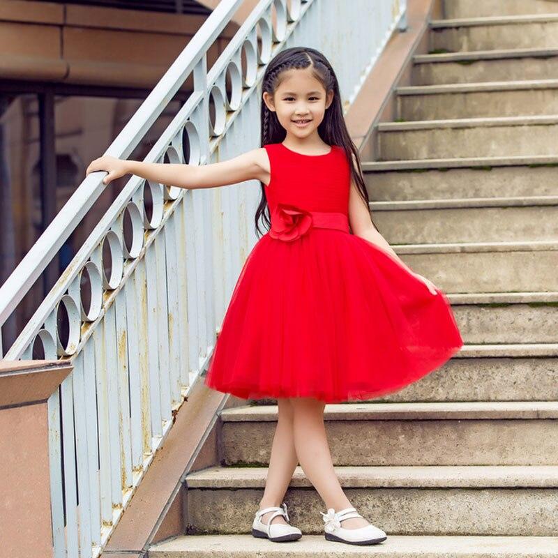 Mère fille robes de mariée rouge maman enfants maman et Duaghter Vestidos correspondant robes de demoiselle d'honneur soirée robe Tutu - 4