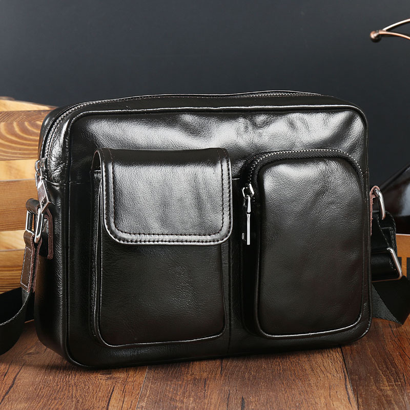 2018 New Fashion Genuine Leather Men Bag Casual Business Shoulder & Crossbody bags Cowhide Large Capacity Travel Messenger Bags big pocket pad genuine business greased leather cowhide travel crossbody 14laptop shoulder messenger book shopping fashion bags
