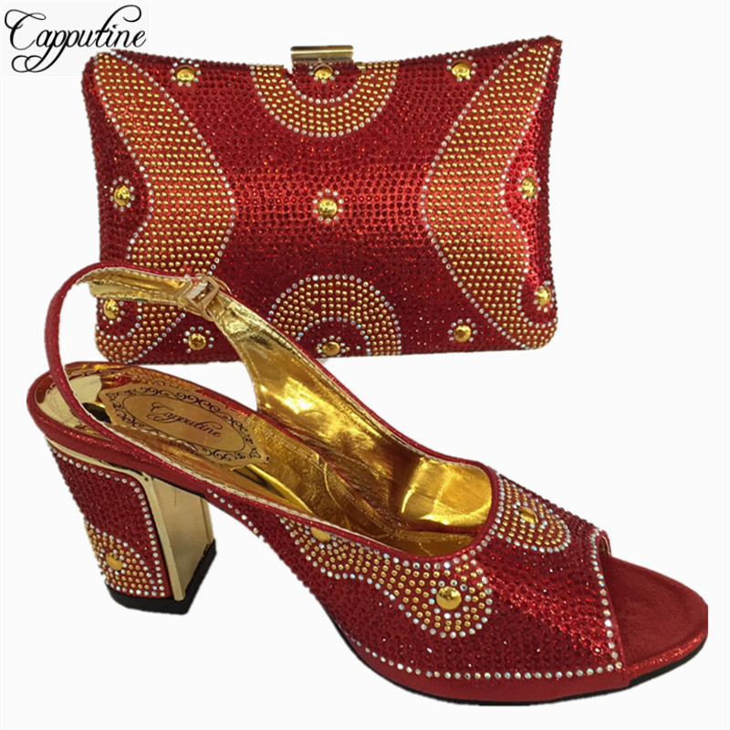 Capputine Latest Red Color Woman Italian Shoes and Bag Set High Quality Nigerian Women Shoes And Bag Set For Party Dress BL765C doershow nigerian style woman shoes and bag set latest yellow italian shoes and bag set for party dress free shipping sab1 3