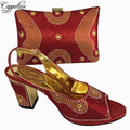 Capputine Latest Red Color Woman Italian Shoes and Bag Set High Quality Nigerian Women Shoes And Bag Set For Party Dress BL765C