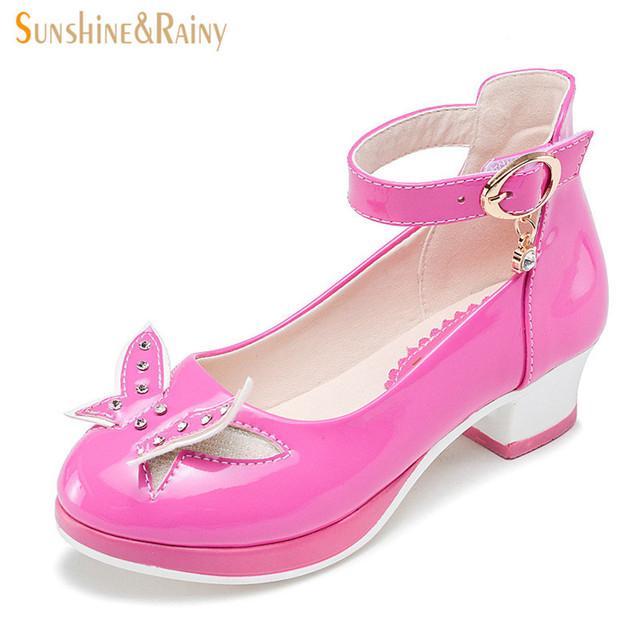 Nuevo Otoño Adolescentes Zapatos de Boda Rhinestone de La Mariposa Niñas Princesa Zapatos de Baile de Cuero de LA PU Zapatos de Los Niños Para La Fiesta 2-14 Y