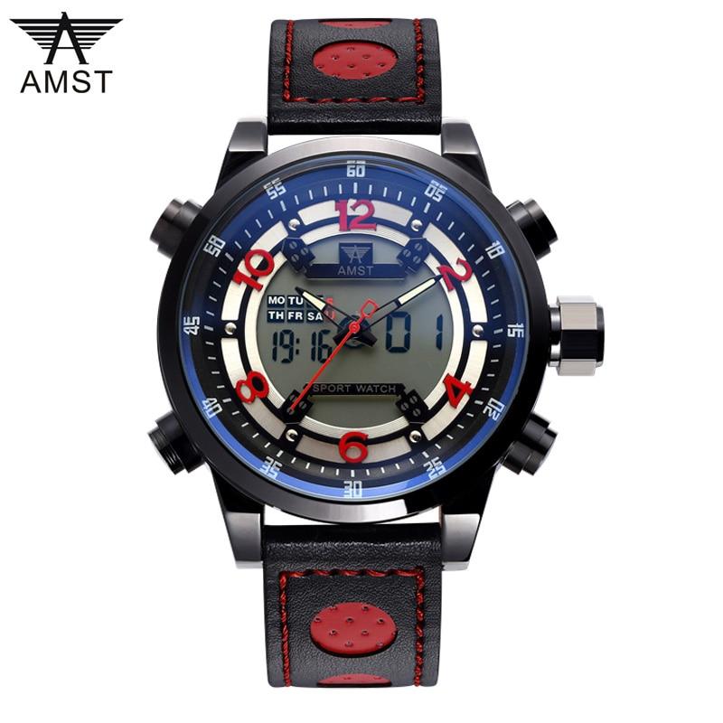 AMST Outdoor Horloges Lederen Horloges Mannen Quartz Digitale Mode - Herenhorloges
