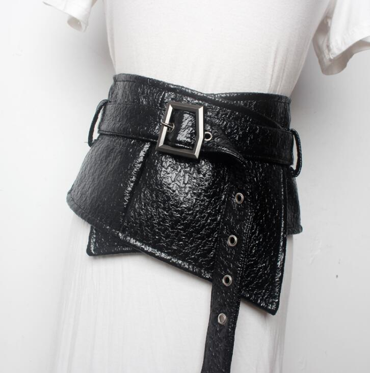 Women's Runway Fashion Patent PU Leather Cummerbunds Female Dress Corsets Waistband Belts Decoration Wide Belt R1521