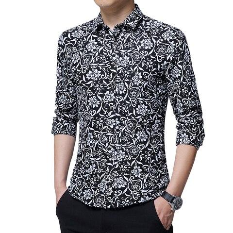 HCXY 2019 autumn New mens work shirts Brand Long sleeve Floral Printed men dress shirts Social male shirts 5XL camisa  masculina Lahore