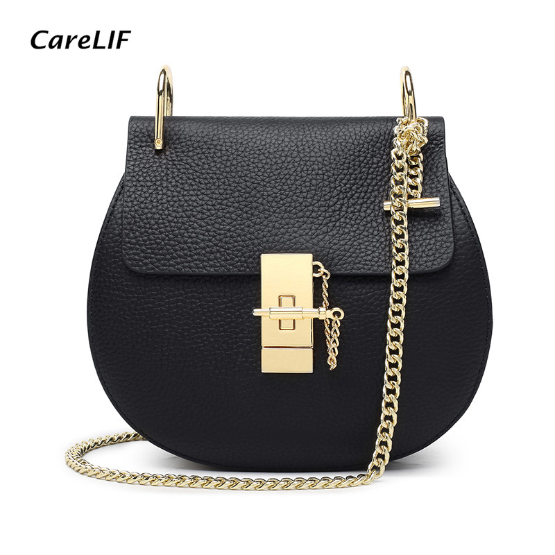 Women Purse Genuine Leather Crossbody Handbag Chain Strap Saddle Sling Shoulder BagWomen Purse Genuine Leather Crossbody Handbag Chain Strap Saddle Sling Shoulder Bag