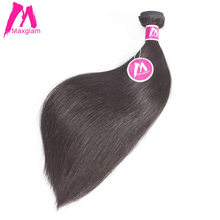 Maxglam Peruvian Virgin Hair Straight Human Hair Weave Bundles Extension Natural Color Free Shipping(China)