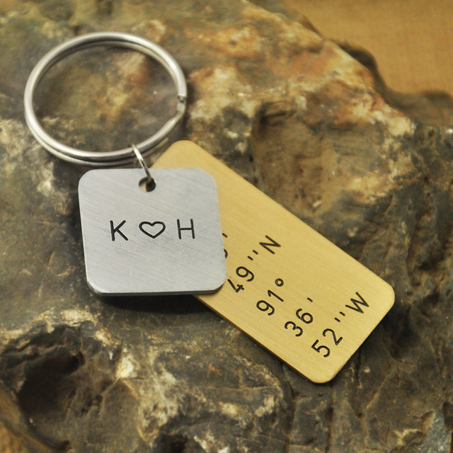 Latitude Longitude Keychain in Copper and alloy, Custom Coordinates, Personalized Initials Heart, Layered,  Mens Gift
