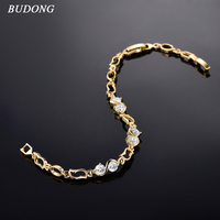 BUDONG 18cm Fashion Female Crystal Infinity Bracelet Silver/Gold Color Bracelet Chain Crystal CZ Bangle for Mom Jewelry xuL007