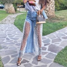 New 2019 Wide Leg Jeans Women Fashion Star Print Patchwork Mesh Sexy See Through Summer Streetwear Casual High Waist Jeans Girl