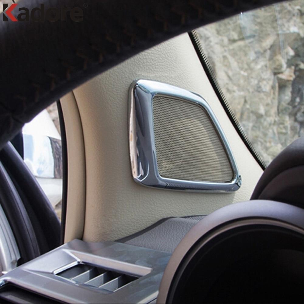 For Toyota Land Cruiser Prado FJ150 2014-2016 2PC/SET Plating Car Front Inner Loudspeaker Frame Cover Trim Interior Mouldings