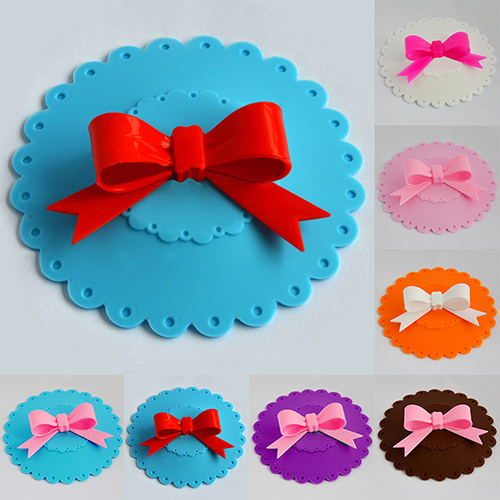 Cute Silicone Bowknot Anti-Dust Cup Cover Sealed Coffee Lid Novelty Gift