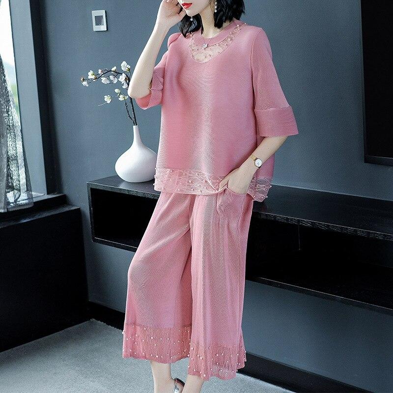 2018 Dentelle Large O Deux Blue Costume Lâche pink Top Manches Mode La En Plus dark gray Neck Pièces Cheville Pantalon Longueur Occasionnel De Khaki Femmes Taille Perles Jambe Moitié E7nTznwq
