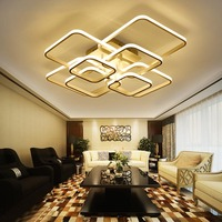 Square Circel Rings Chandelier For Living Room Bedroom Home AC85 265V Modern Led Ceiling Chandelier Lamp Fixtures Free Shipping