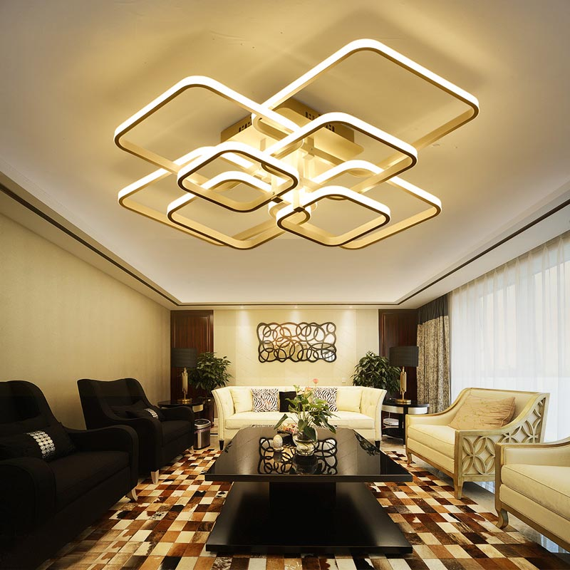 Vierkante Circel Ringen Kroonluchter Woonkamer Slaapkamer Home AC85-265V Moderne Led Plafond Kroonluchter Lamp Armaturen Gratis Verzending