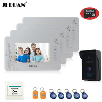 7 Video Door Phone Intercom System 4 Montiors 1 Camera Access Control System Video Recording Photo