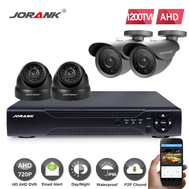 4CH AHD CCTV System 4 Channel DVR Surveillance Security 1200TVL Waterproof NightVision IR Outdoor Dome Camera DIY Kit