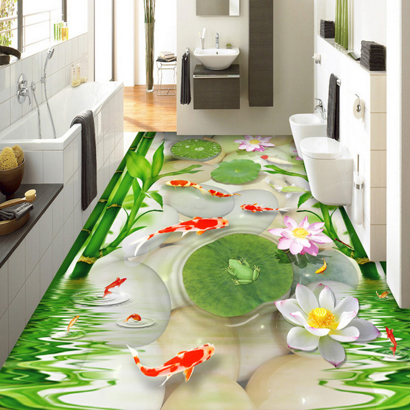 Custom Photo Wall Paper Chinese Style Goldfish Pebbles Bamboo Lotus Frog 3D Floor Tiles Mural Wallpaper Living Room PVC Sticker