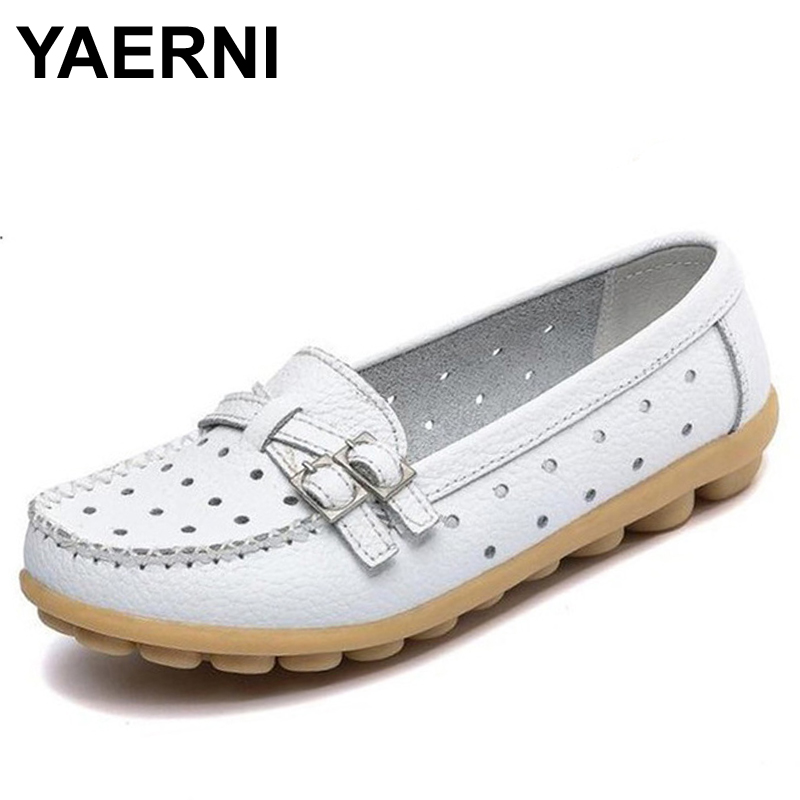 YAERNI  Flat Shoes Women Casual Shoes Split Leather Flats Buckle Loafers Slip On Soft Women's Flat Shoes Moccasins Size 41 vintage embroidery women flats chinese floral canvas embroidered shoes national old beijing cloth single dance soft flats