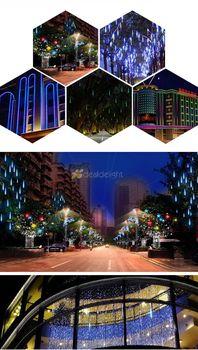 2 Sets 80 Cm 2835 SMD LED Meteor Shower Rain Lichten, Boom Hanger Kerst Tube, 10 Stks 80 Cm Buizen/set Met Driver
