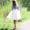 Lovely Bow Tulle Skirt Free Shipping Cheap Knee Length Blue Tutu Skirt Girl Tulle Skirt Women Tulle Skirt