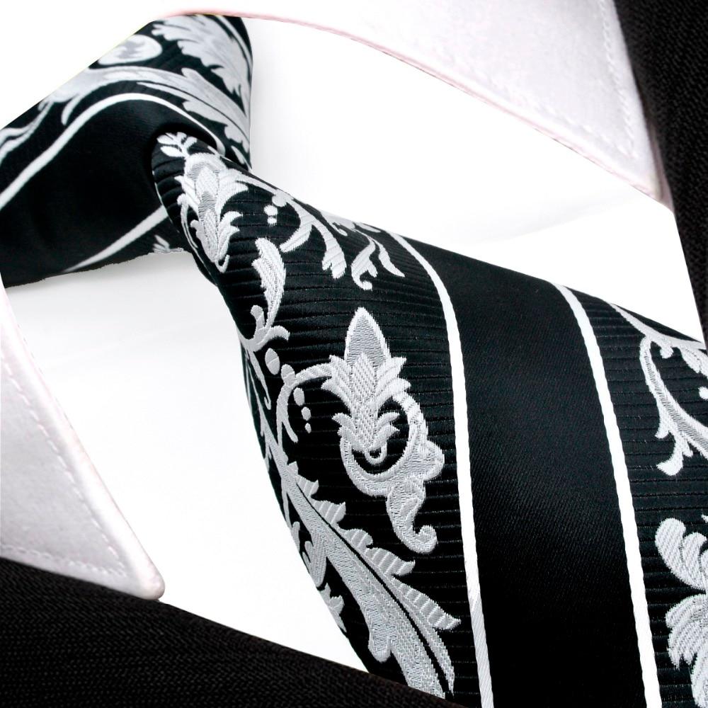 Juodosios baltos juostelės gėlių vyrų kaklaraiščių - Drabužių priedai - Nuotrauka 2