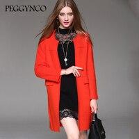 2017 Women Autumn Winter Coats Jackets Red Long Wool Coats High Quality Winter Long Dress MY2017224