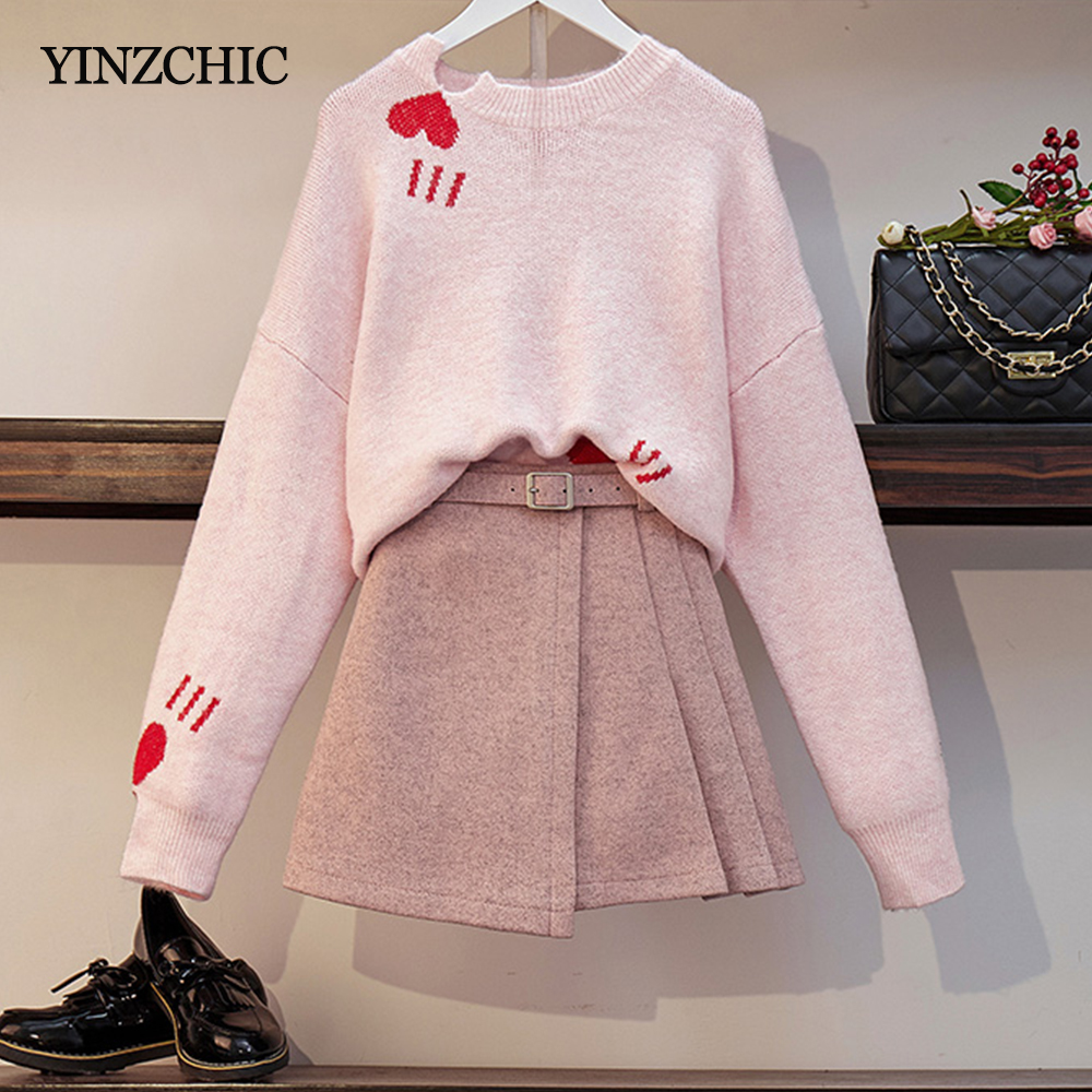 New Autumn Woman Two-pieces Set Loose Sweater + Woolen Skirts Set For Woman Female Casual Warm Suits Winter